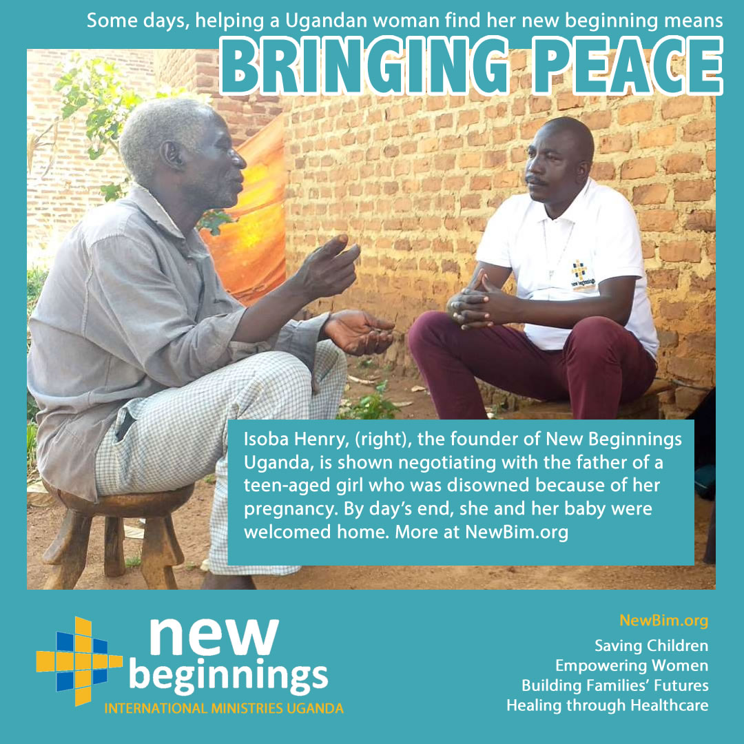 Some days, helping a Ugandan woman find her new beginning means bringing peace.